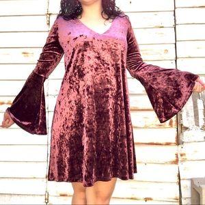 Velvet Purple Long Bell Sleeved Midi Dress v-neck